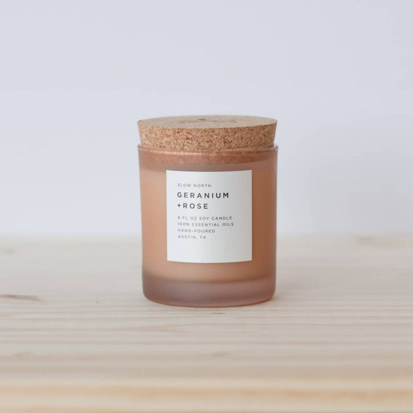 Organic small-batch Handmade Geranium + Rose Scented Candle