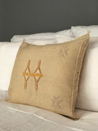 Moroccan Silk Sabra Pillow Cover in Beige
