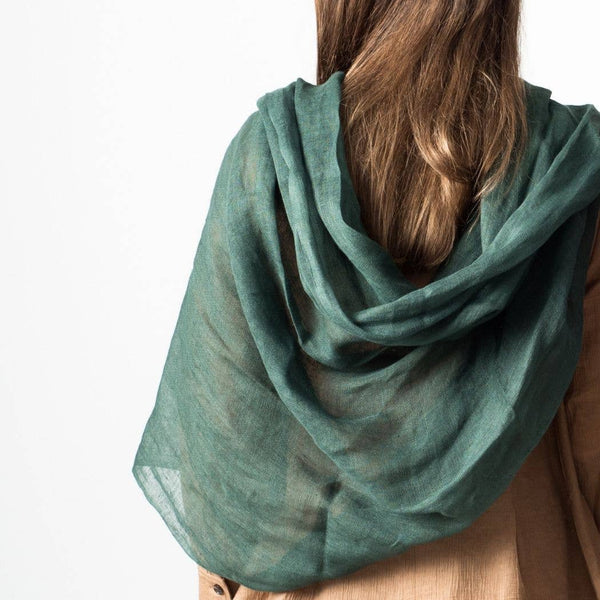 Ethically Handwoven Moss Linen Scarf