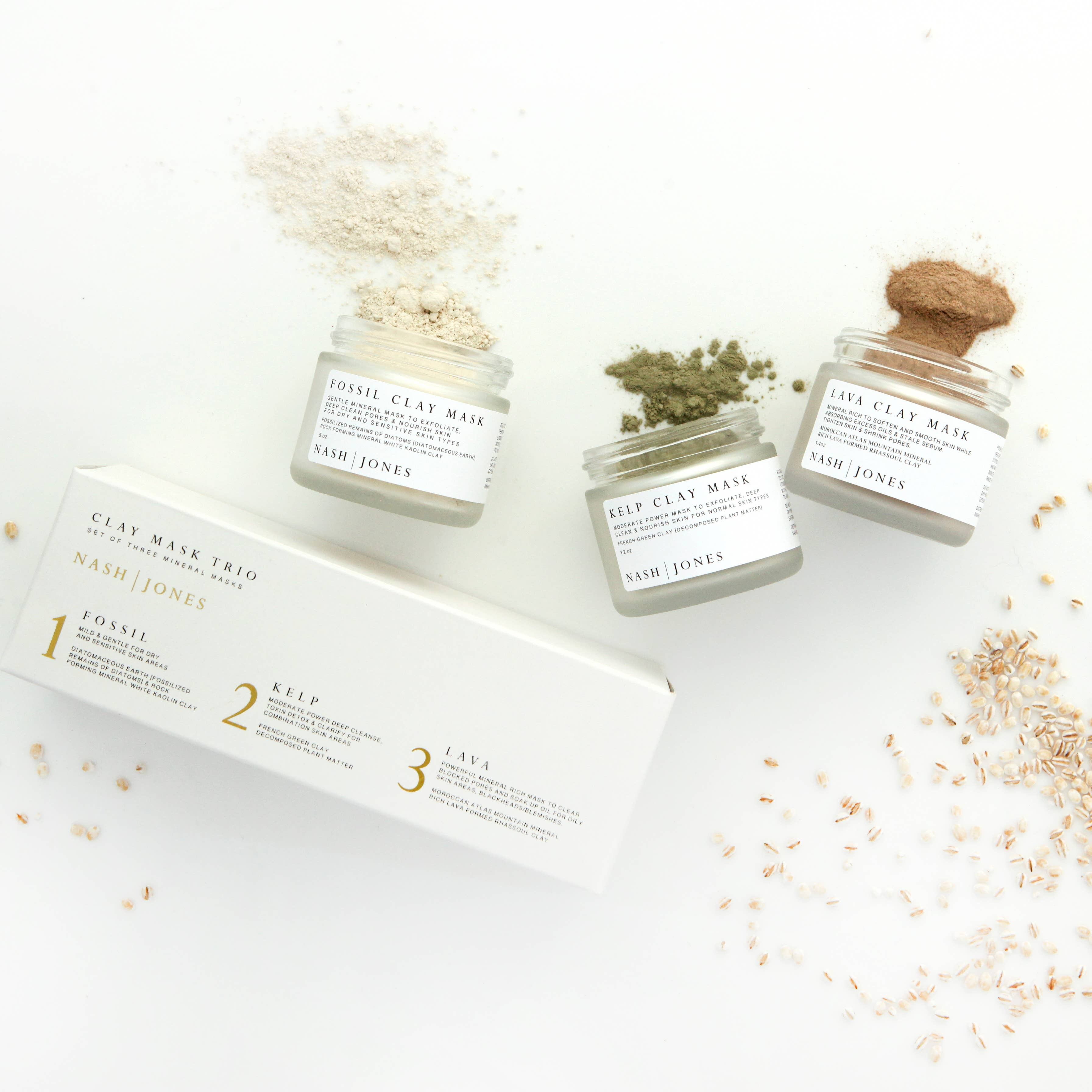 All Natural Organic Clay Mask Trio Set