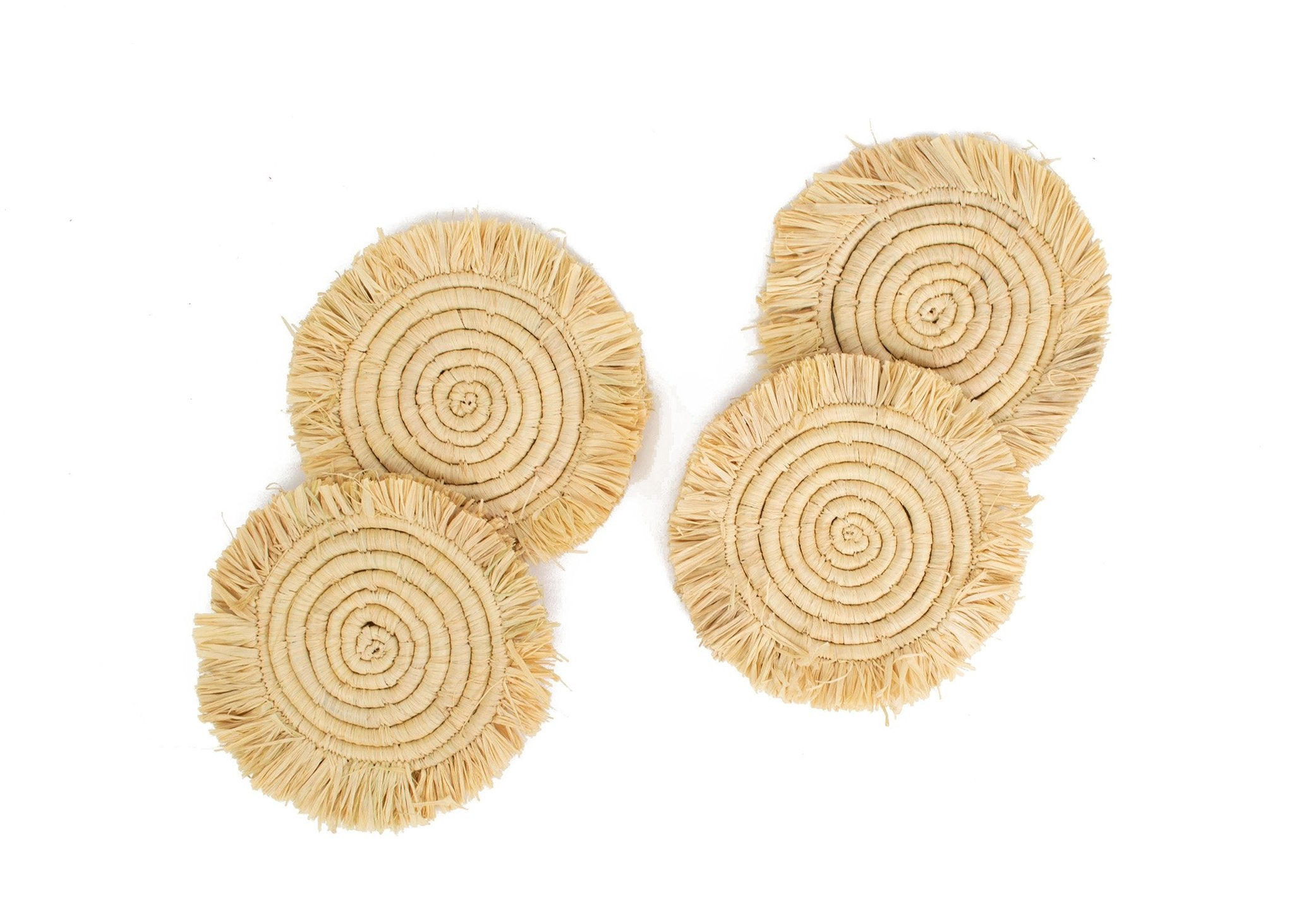 Natural Fringed Drink Coasters - Set of 4