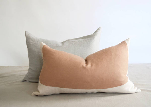 Handmade Oval Lumbar Linen Pillow in Sand