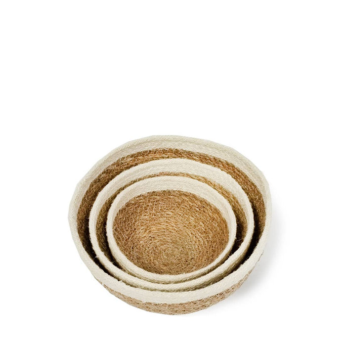 Handmade Savar Jute Round Bowls - Set of 3