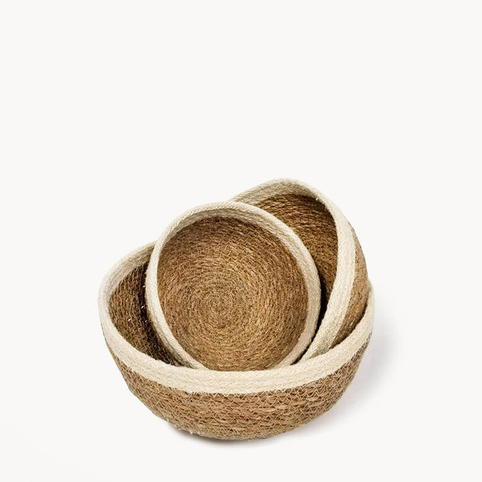 Eco-friendly Ethically Handmade  Organic Fair Trade Sustainable Savar Jute Round Bowls - Set of 3