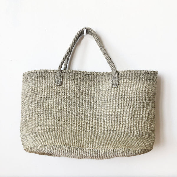 Eco-friendly Ethically Handmade Small Batch Handwoven Grey Sisal Tote
