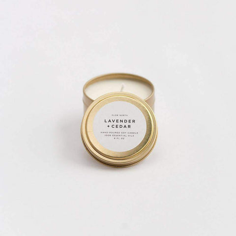 Travel Tin Candle in Lavender + Cedar
