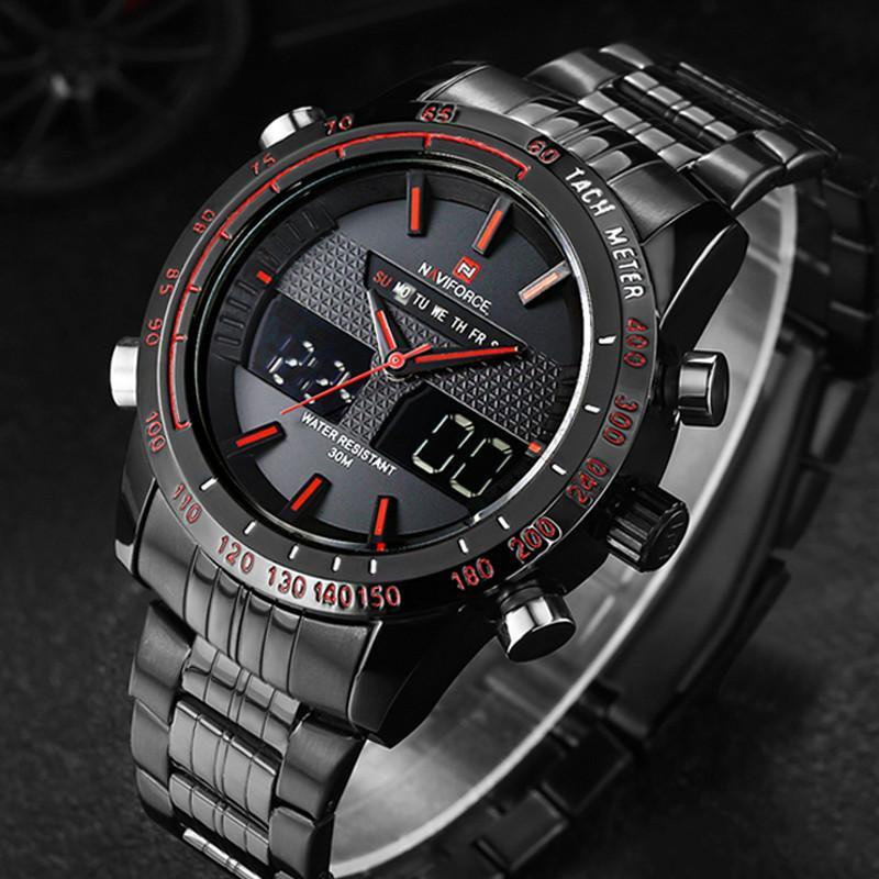 Naviforce 9024 Stainless Steel-Dual Display Luxury Men's Watch
