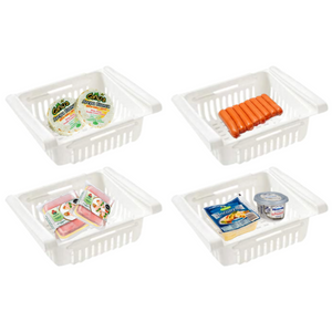 4 pack White Plastic Retractable Refrigerator  Baskets - Babies Hunt