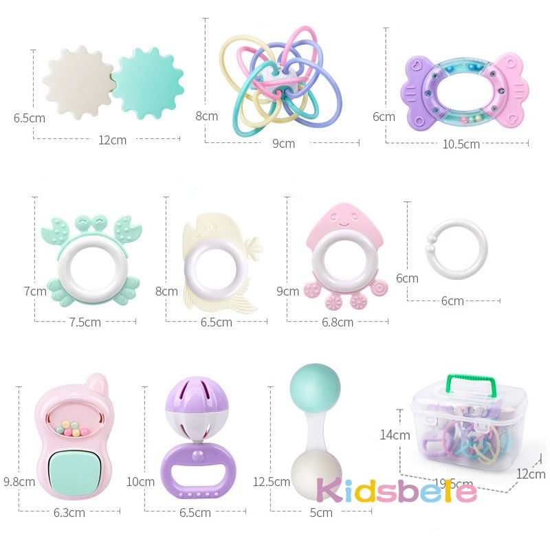 9PCS Rattle Baby Toys With Box - Babies Hunt