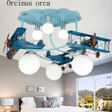American retro aircraft hanger lights children's room boys and girls bedroom creative cartoon LED iron ceiling lamp - Babies Hunt