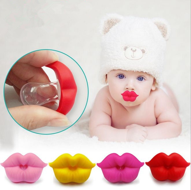 NEW BABY PACIFIER RED KISS LIPS - Babies Hunt