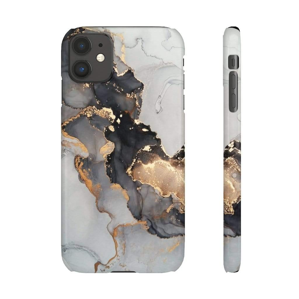 Printify iPhone Case iPhone 11 / Glossy Black & Gold Iphone Snap Cases