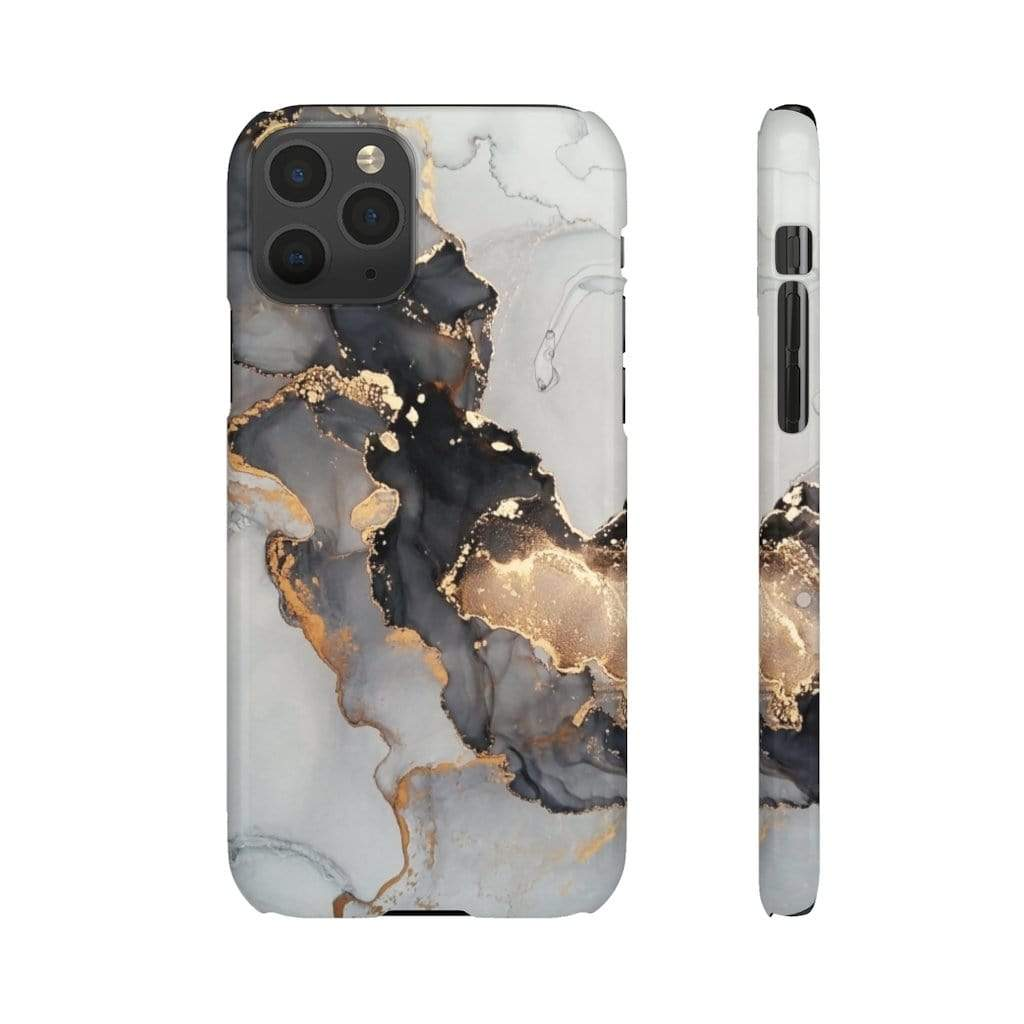 Printify iPhone Case iPhone 11 Pro / Glossy Black & Gold Iphone Snap Cases