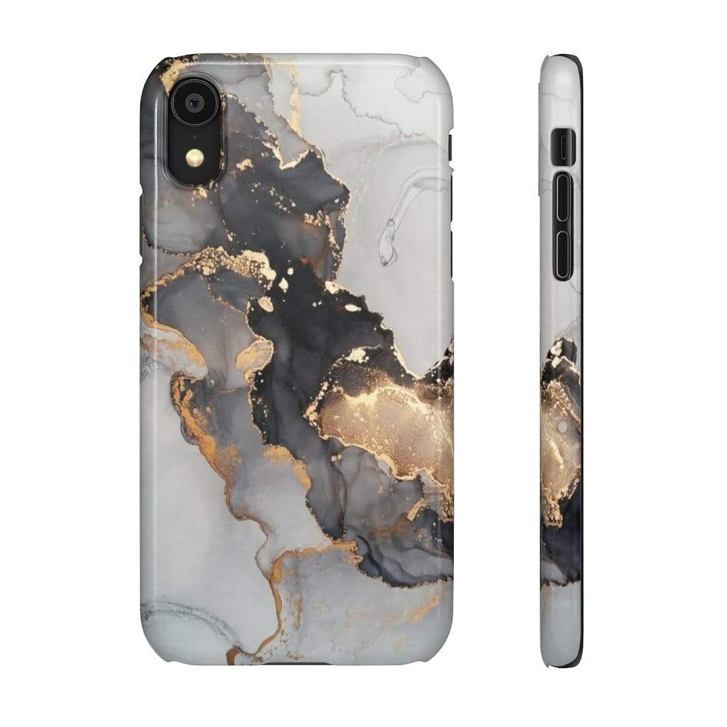 Printify iPhone Case iPhone XR / Glossy Black & Gold Iphone Snap Cases
