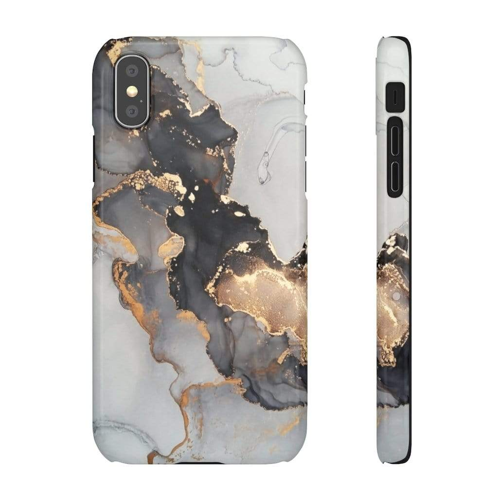 Printify iPhone Case iPhone XS / Glossy Black & Gold Iphone Snap Cases