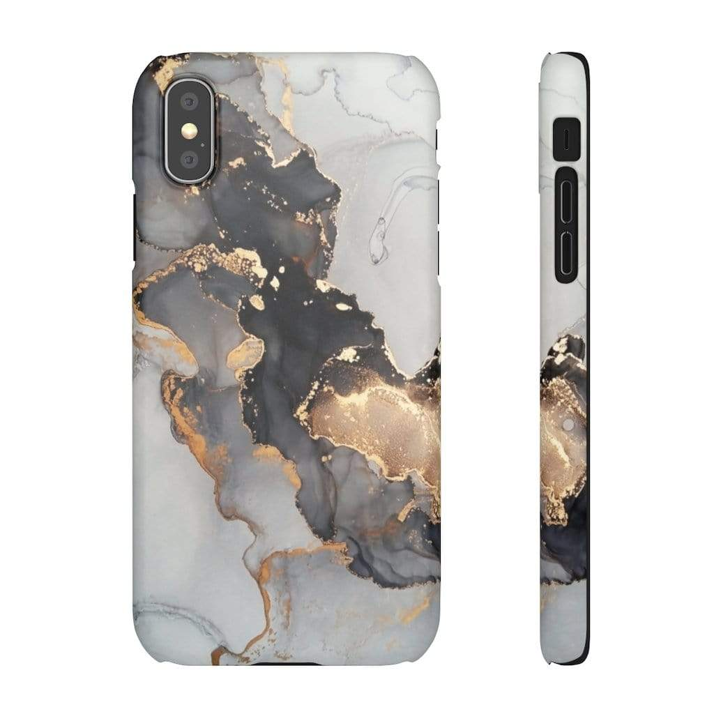 Printify iPhone Case iPhone XS / Matte Black & Gold Iphone Snap Cases