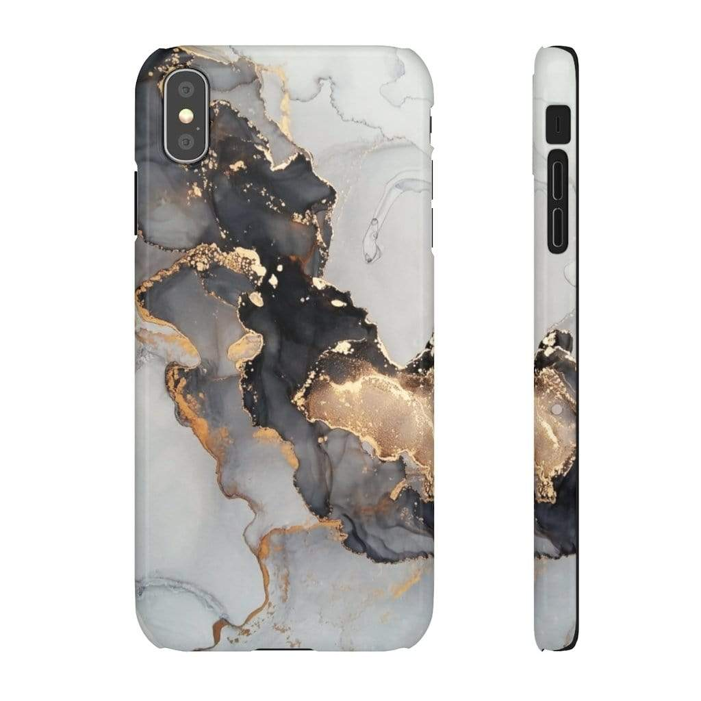 Printify iPhone Case iPhone XS MAX / Glossy Black & Gold Iphone Snap Cases
