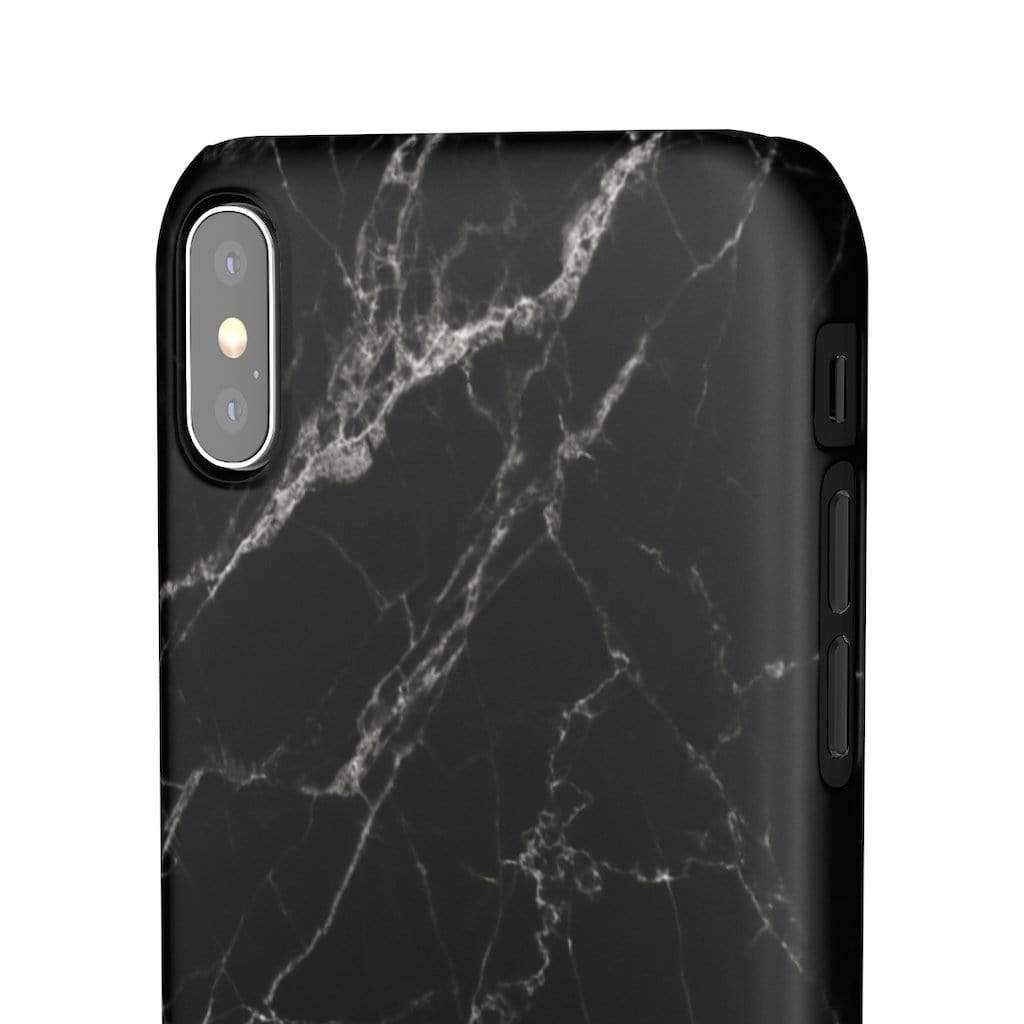 Printify Phone Case Black Marble IPhone Snap Case