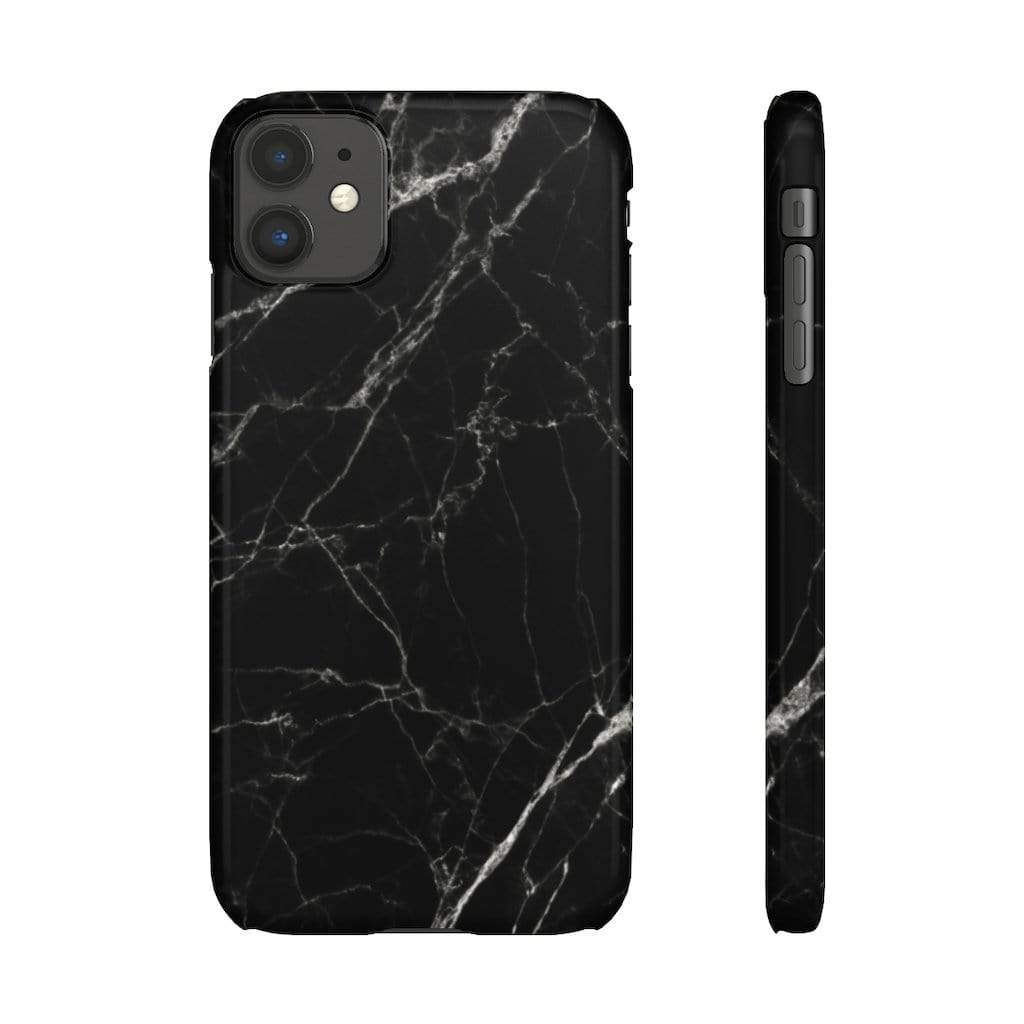 Printify Phone Case iPhone 11 / Glossy Black Marble IPhone Snap Case