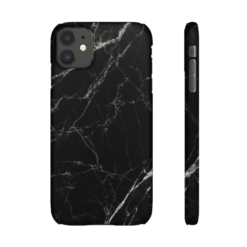 Printify Phone Case iPhone 11 / Matte Black Marble IPhone Snap Case