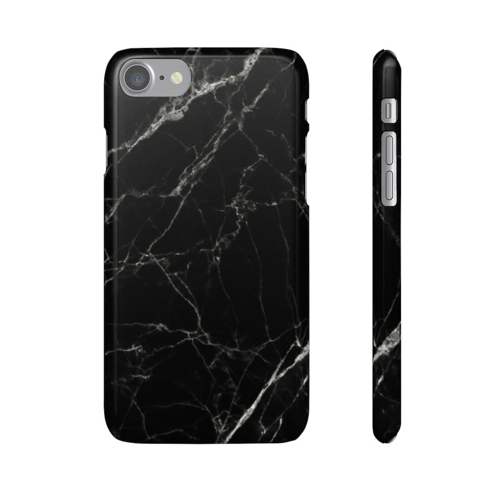 Printify Phone Case iPhone 7 / Glossy Black Marble IPhone Snap Case