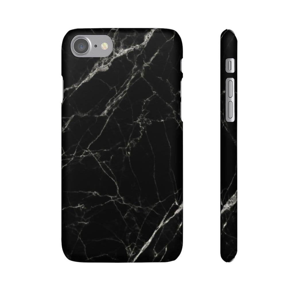 Printify Phone Case iPhone 7 / Matte Black Marble IPhone Snap Case