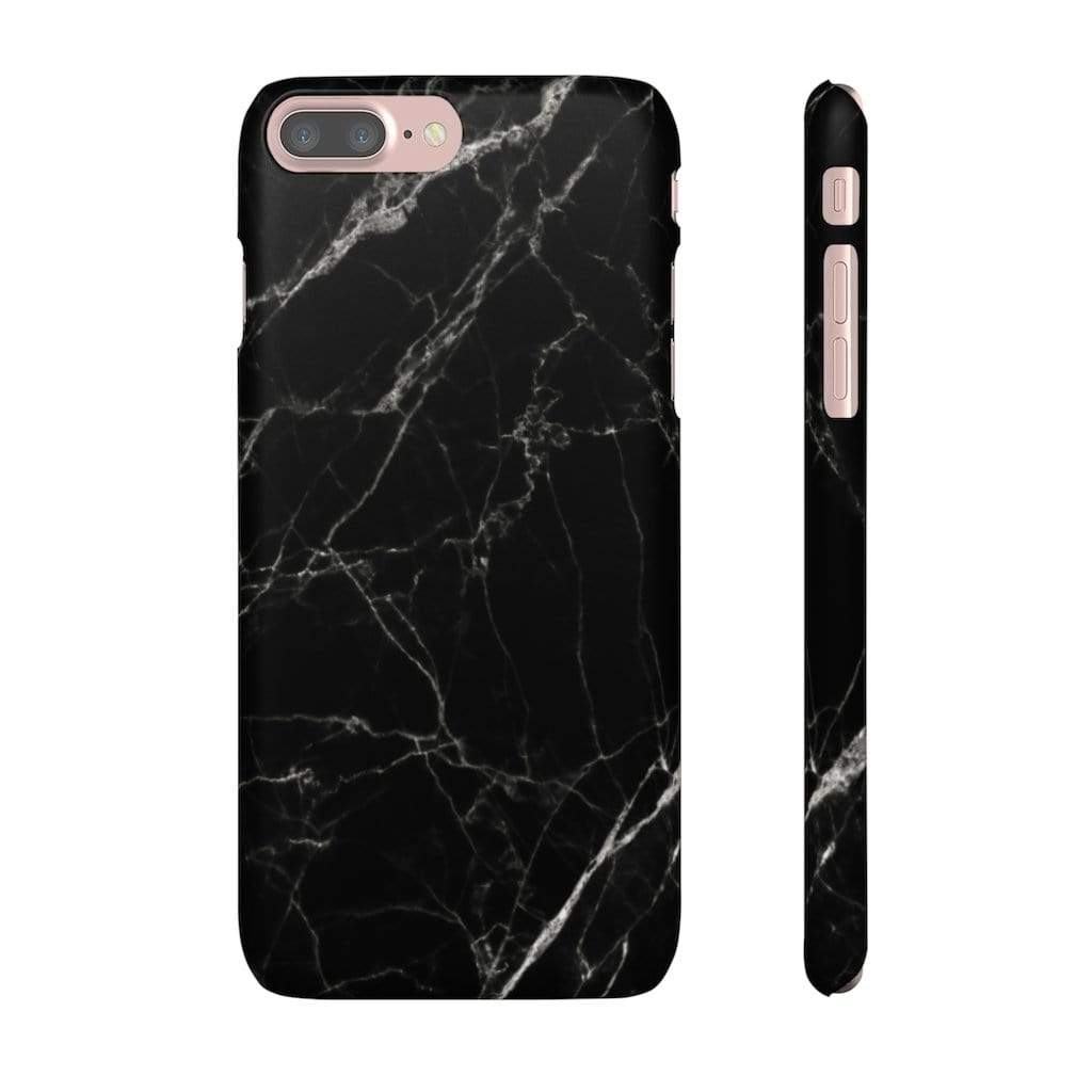 Printify Phone Case iPhone 7 Plus / Matte Black Marble IPhone Snap Case