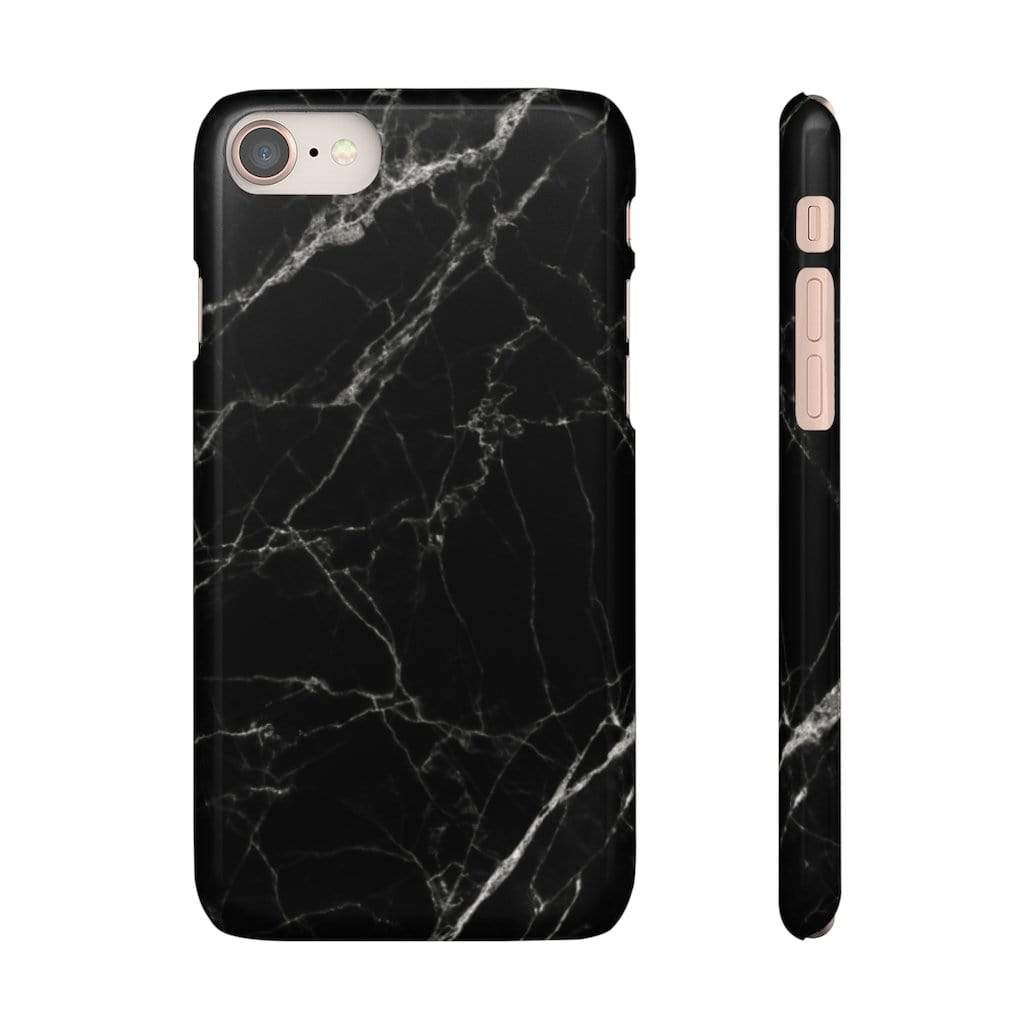 Printify Phone Case iPhone 8 / Glossy Black Marble IPhone Snap Case