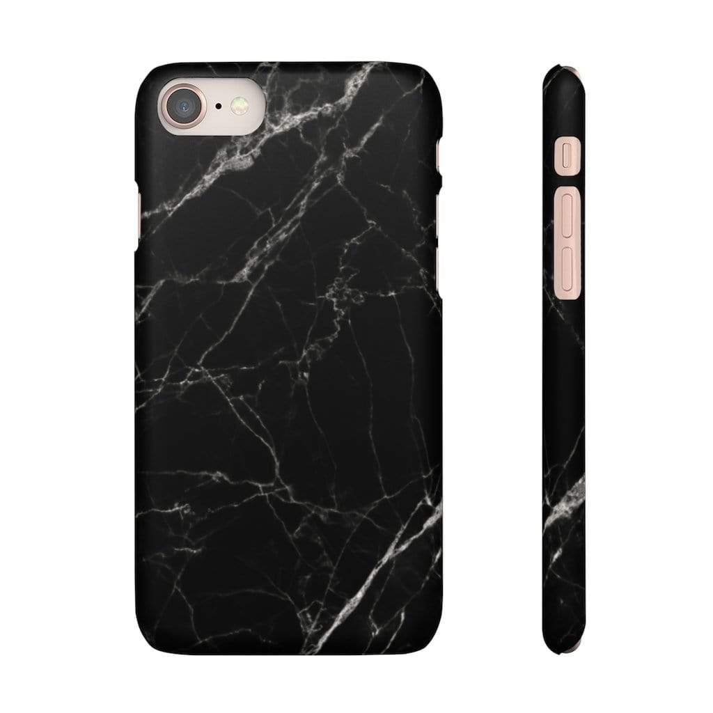 Printify Phone Case iPhone 8 / Matte Black Marble IPhone Snap Case