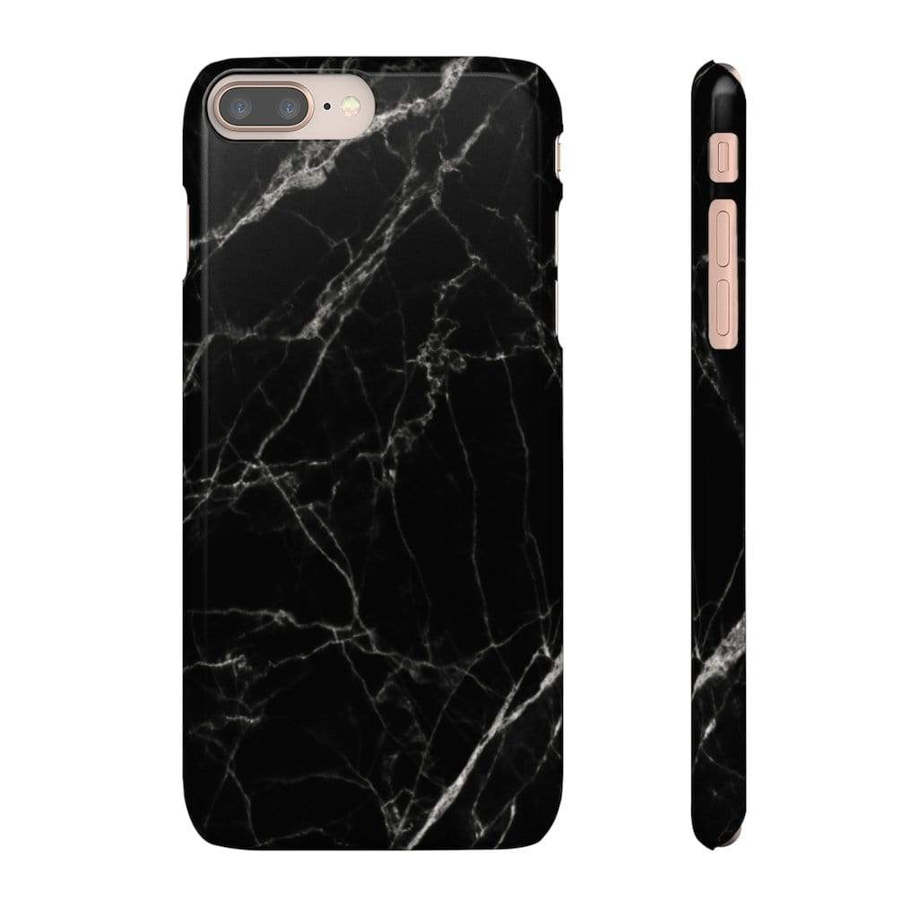 Printify Phone Case iPhone 8 Plus / Glossy Black Marble IPhone Snap Case