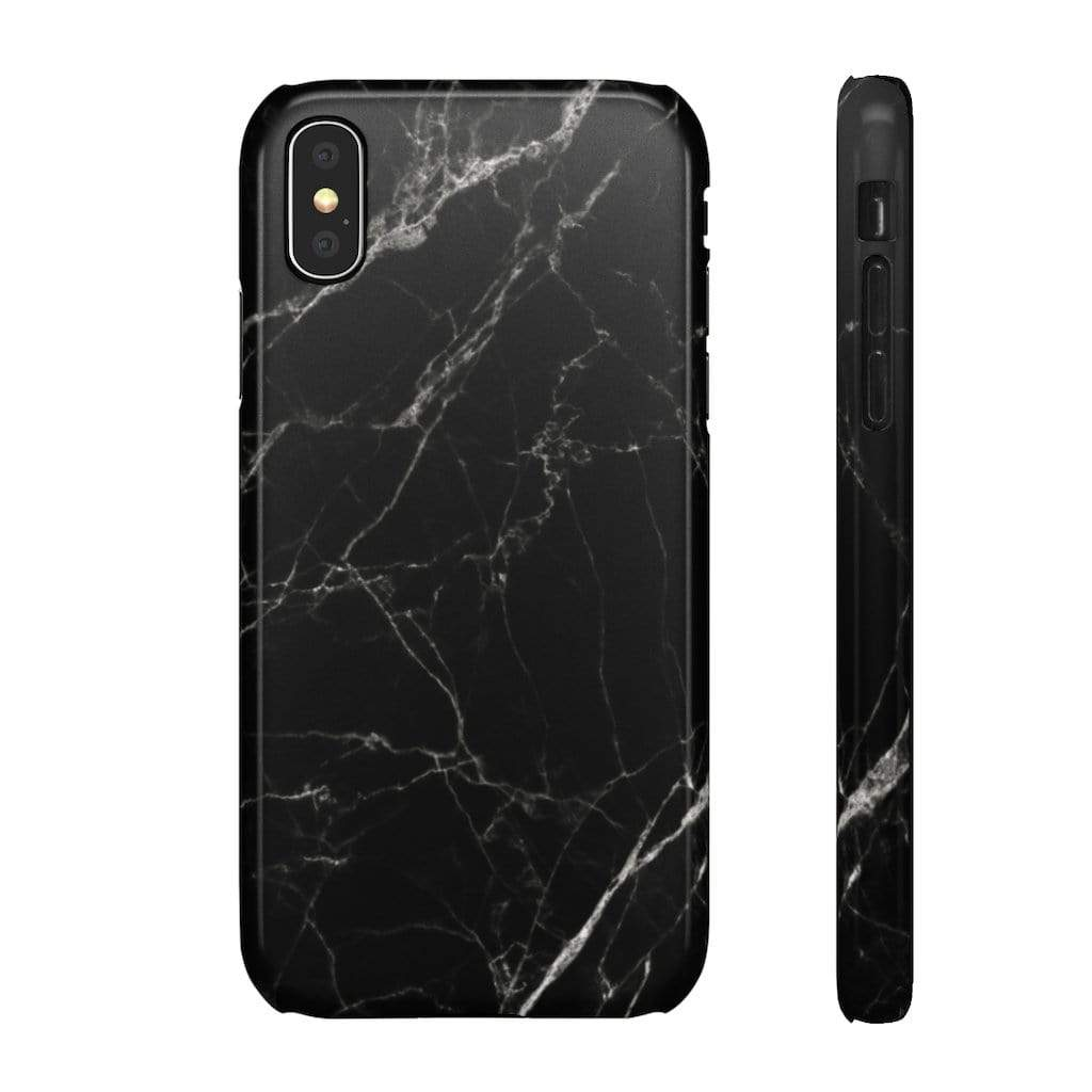 Printify Phone Case iPhone X / Glossy Black Marble IPhone Snap Case