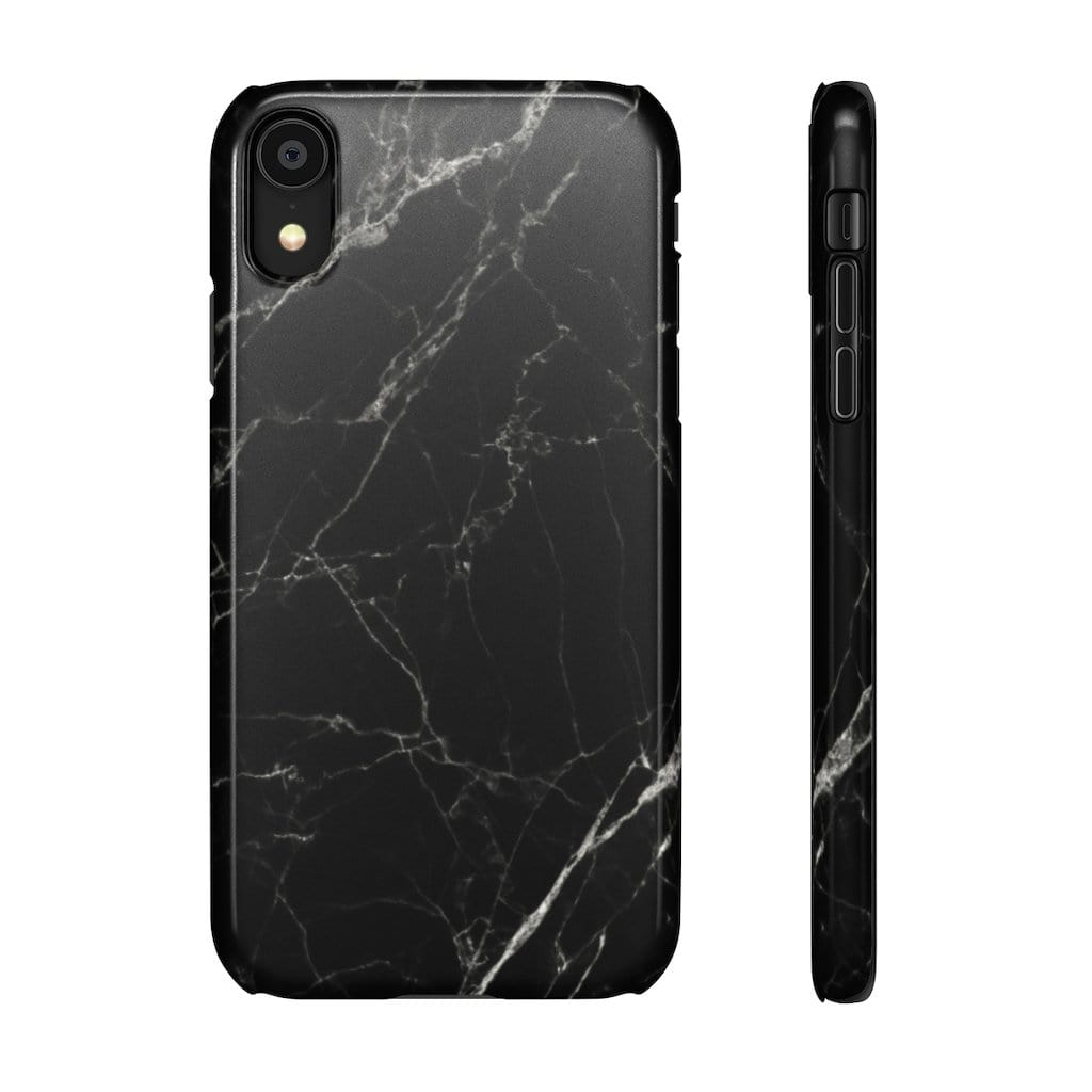 Printify Phone Case iPhone XR / Glossy Black Marble IPhone Snap Case