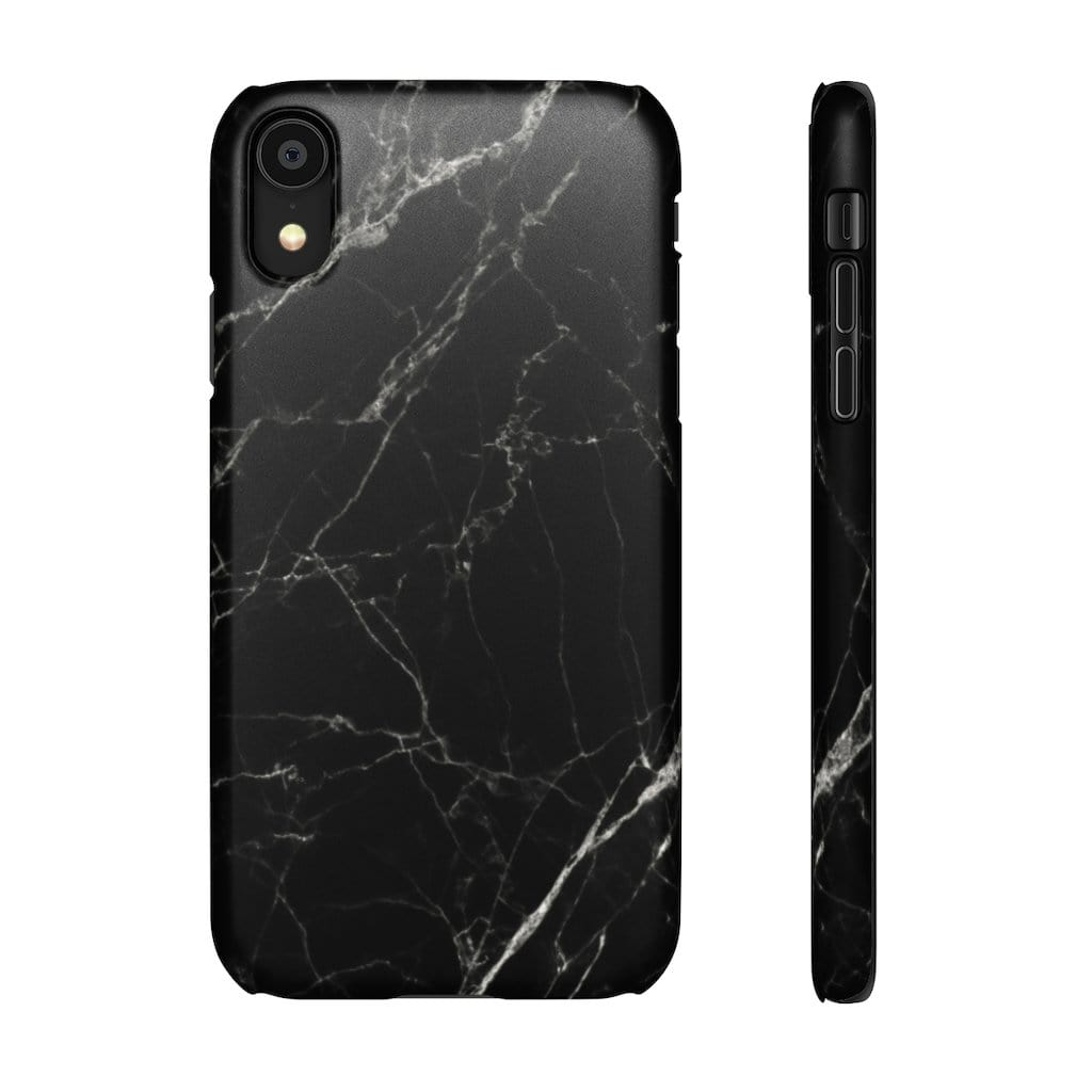 Printify Phone Case iPhone XR / Matte Black Marble IPhone Snap Case