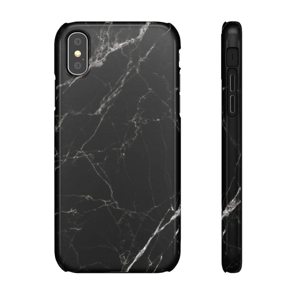 Printify Phone Case iPhone XS / Glossy Black Marble IPhone Snap Case
