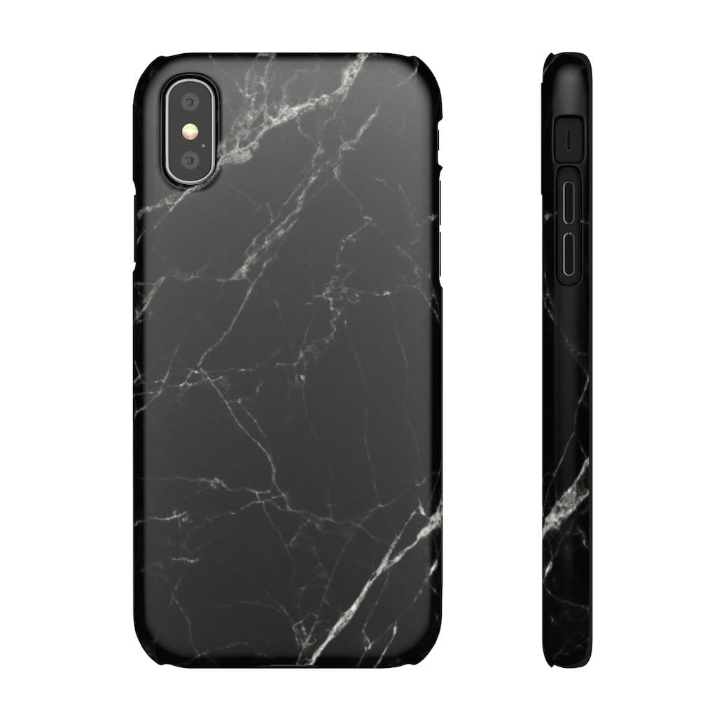 Printify Phone Case iPhone XS / Matte Black Marble IPhone Snap Case