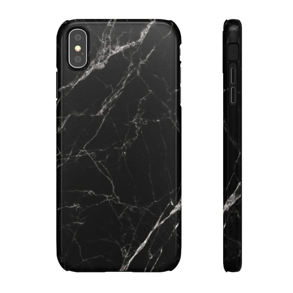 Printify Phone Case iPhone XS MAX / Glossy Black Marble IPhone Snap Case