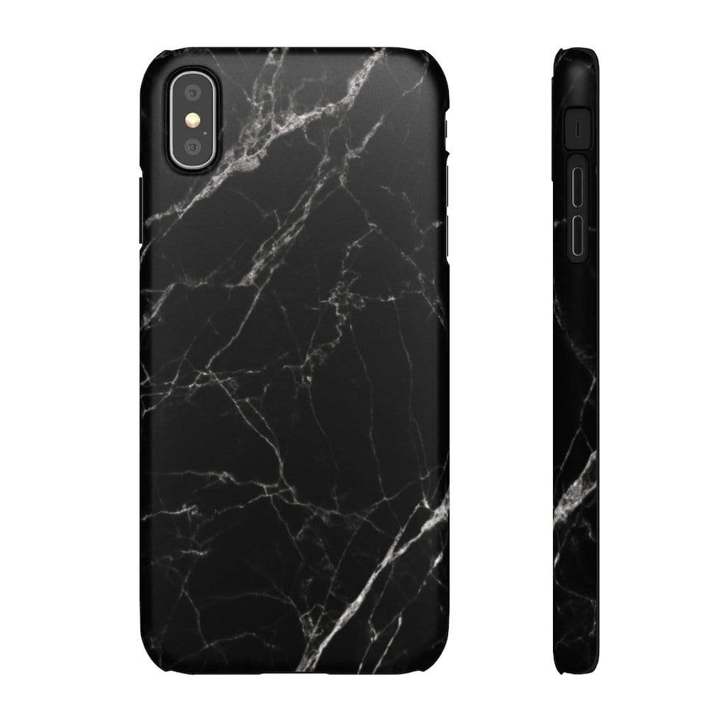 Printify Phone Case iPhone XS MAX / Matte Black Marble IPhone Snap Case