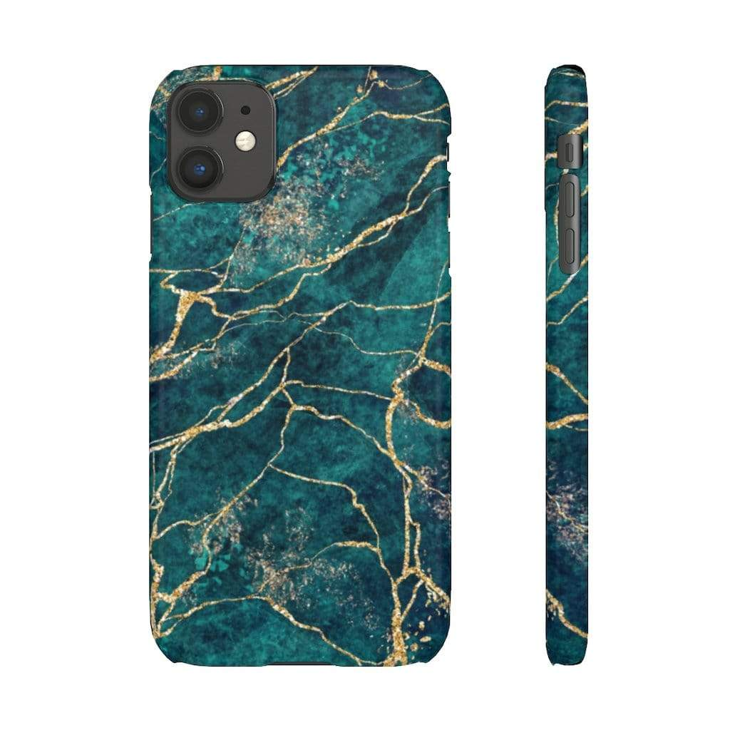 Printify iPhone Case iPhone 11 / Glossy Green Marble IPhone Snap Cases