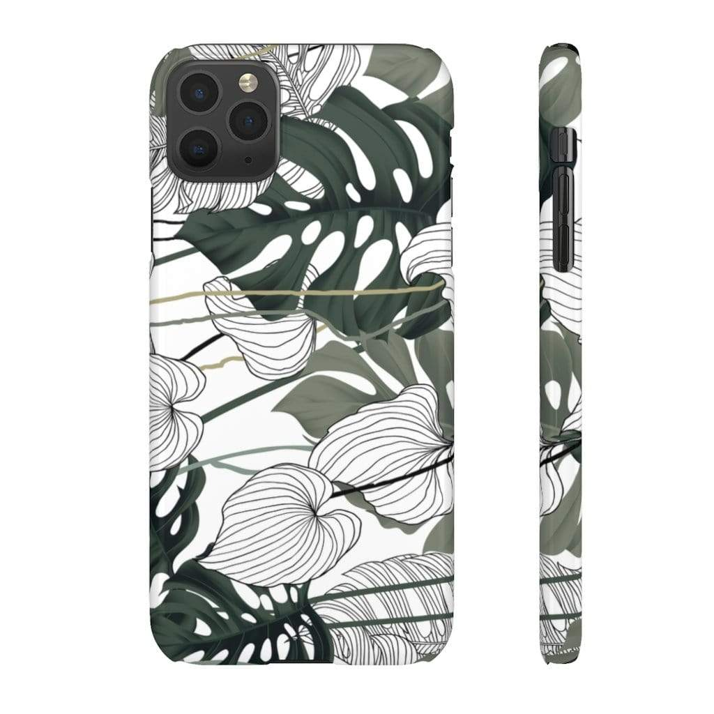 Printify Phone Case iPhone 11 Pro Max / Glossy Jungle Leaves IPhone Snap Case