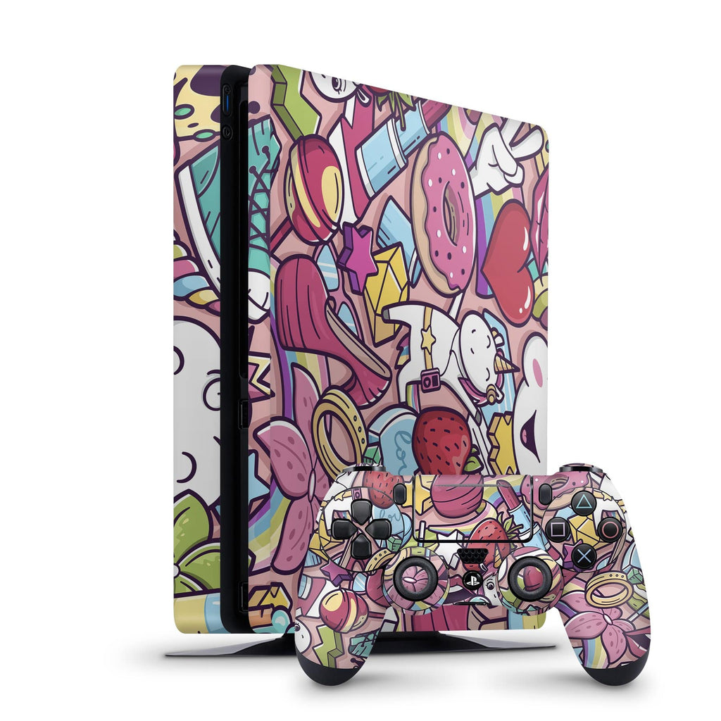 Decal Kings PlayStation 4 Skin PlayStation 4 Slim / Console + Controllers Pink Doodle PS4 Skin