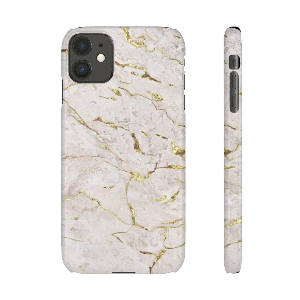 Printify iPhone Case White & Gold Marble IPhone Snap Cases