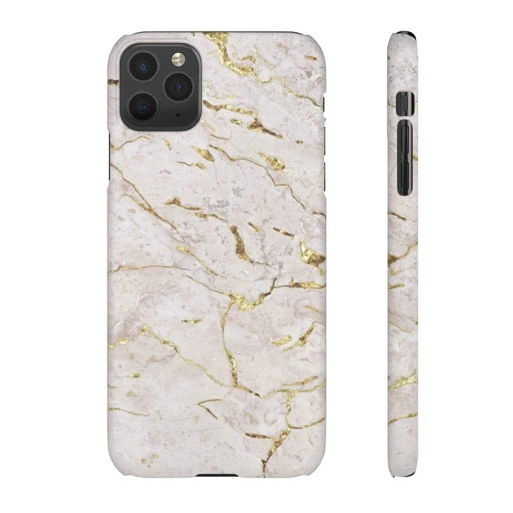 Printify iPhone Case iPhone 11 Pro Max / Matte White & Gold Marble IPhone Snap Cases