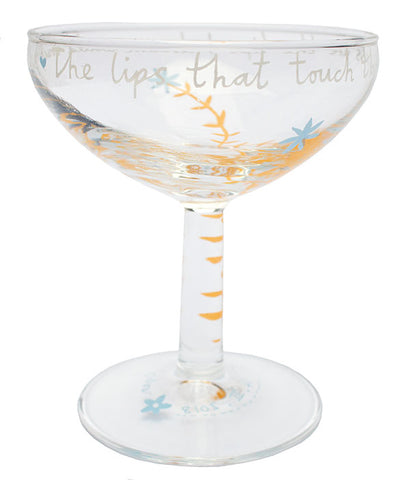 'The lips that touch' Pair of Champagne Glasses