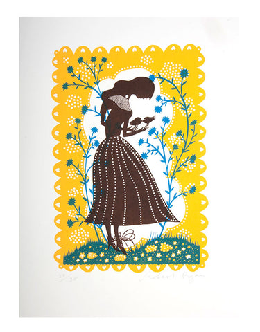 'Bird Lady' Screenprint (yellow/brown)