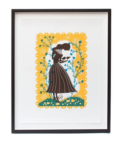 'Bird Lady' Framed Screenprint