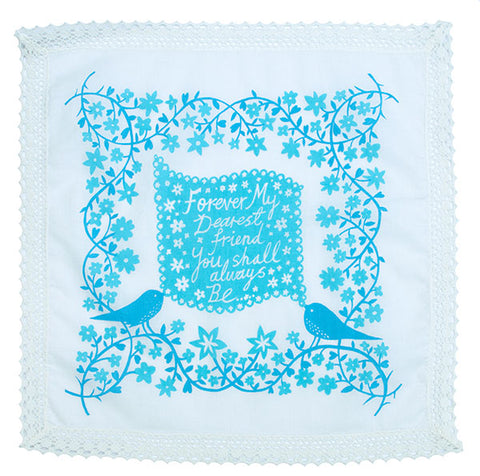 'Forever My Dearest Friend' Blue Handkerchief
