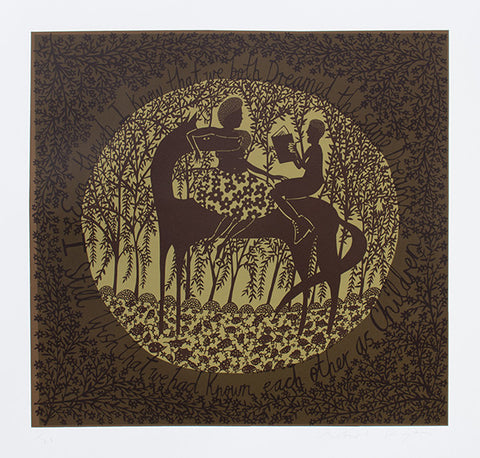 'I Still Wish We Had Known Each Other As Children' Brown/Olive Screenprint