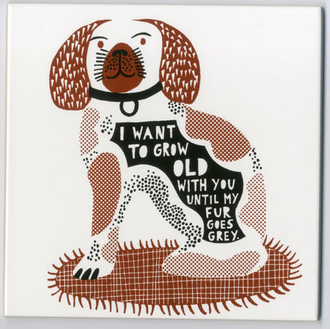 'All we can do  I Want To Grow Old With You Until My Fur Goes Grey' Ceramic Tile c