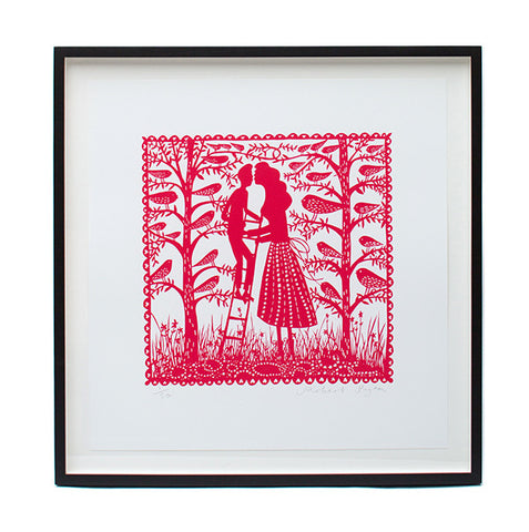 'Ladder Kiss' Framed Screenprint