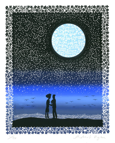 'Your Light' (Blue Sunset) Screenprint with Blue Moon